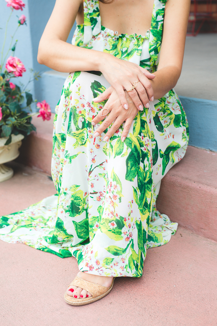 e765dd815d2 I styled very delicate jewelry pieces with this dress because the print was  a bit busy already. The shoes are my new favorite platform wedges from a ...